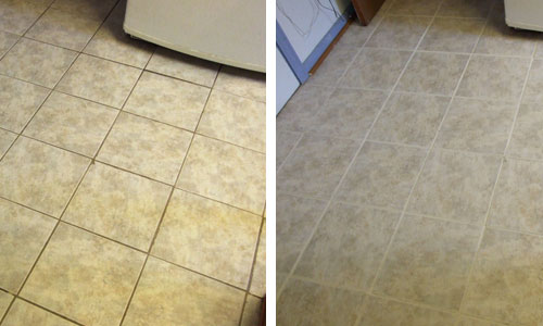 two pictures of floor showing before and after tile & grout cleaning
